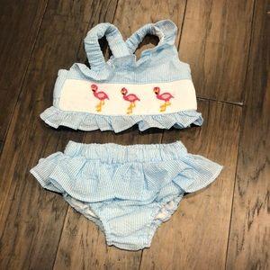 Seersucker smocked flamingo 2 piece bathing suit